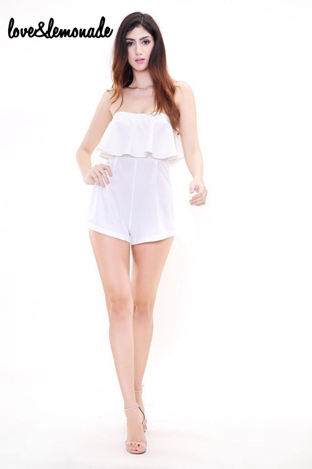 White Flounced Waist Wrapped Chest Jumpsuits-ROMPERS & JUMPSUITS-SheSimplyShops