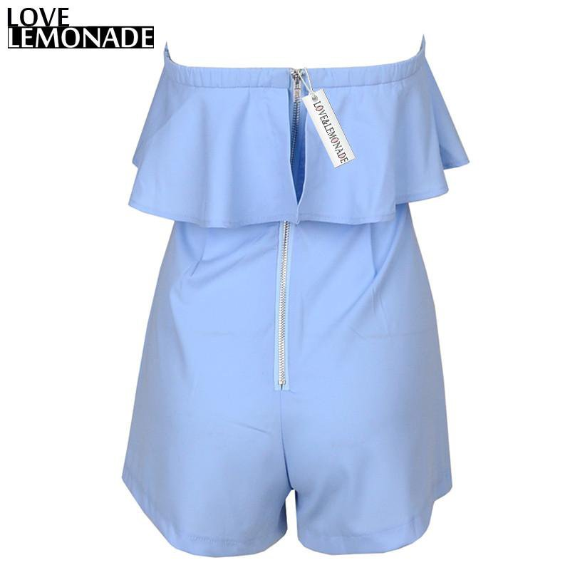 Sky Blue Flounced Waist Wrapped Chest Jumpsuits-ROMPERS & JUMPSUITS-SheSimplyShops