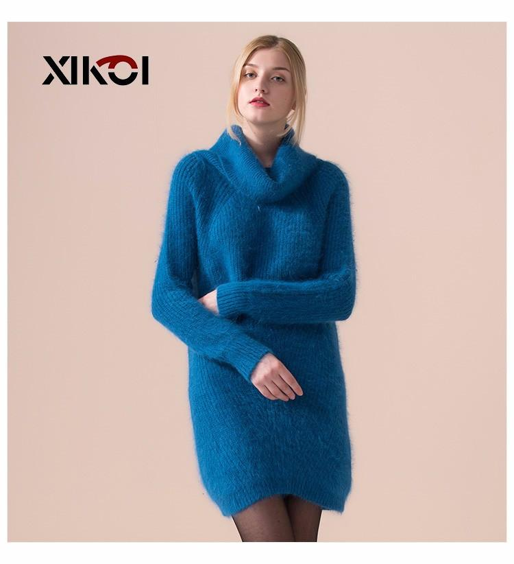 Winter Casual New Women Rabbit Sweater Fashion Thick Ladies Knitted Sweaters Pullovers Long Woman Solid Pullover Coat-Coats & Jackets-SheSimplyShops