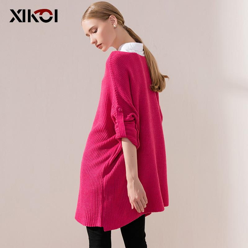 New Autumn Long Women Sweater Casual Solid Batwing Sleeve Loose Ladies Sweaters Clothes Pullovers Fashion Pullover Clothing-SWEATERS + CARDIGANS-SheSimplyShops
