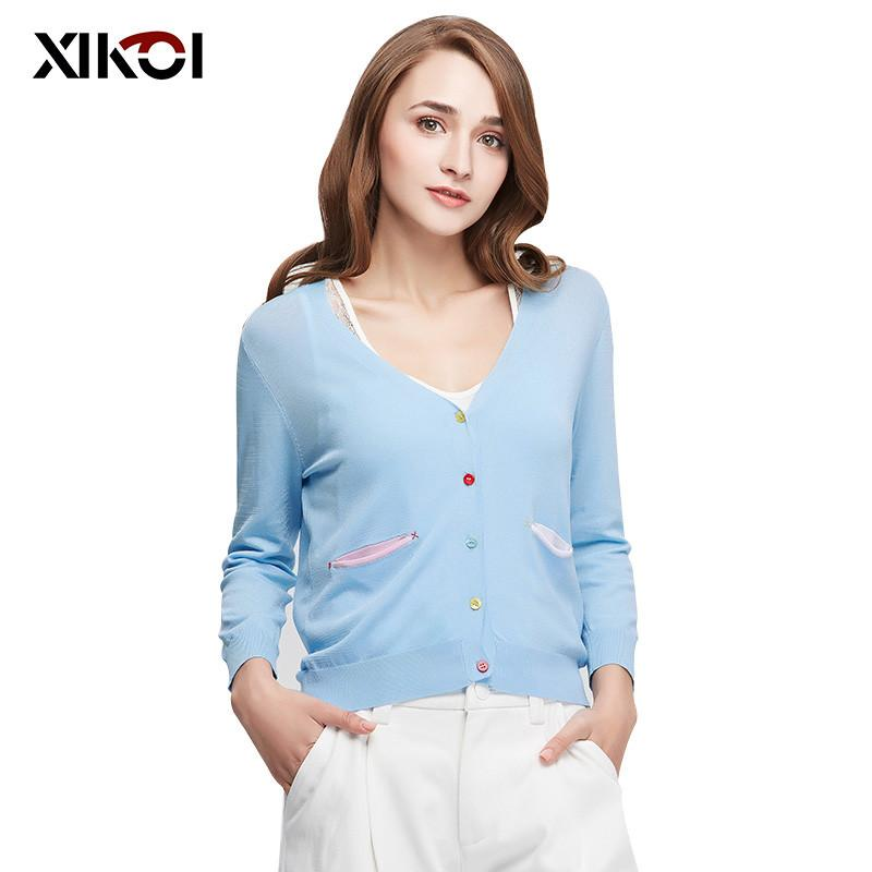 New Casual Women Sweaters Clothing Fashion Pocket Women's Cardigans Thin Open Stitch Ladies Sweater Clothes Coat-Coats & Jackets-SheSimplyShops