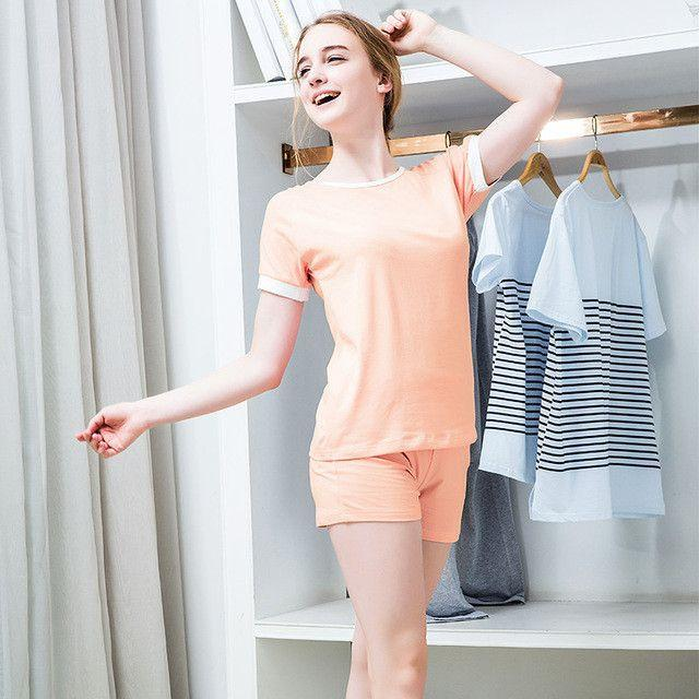 Cute Short Pajamas Sets for Lovers Casual Solid color Short Sleeve top+short Summer Nightwear Cotton plus size M-XXL-SHORTS-SheSimplyShops