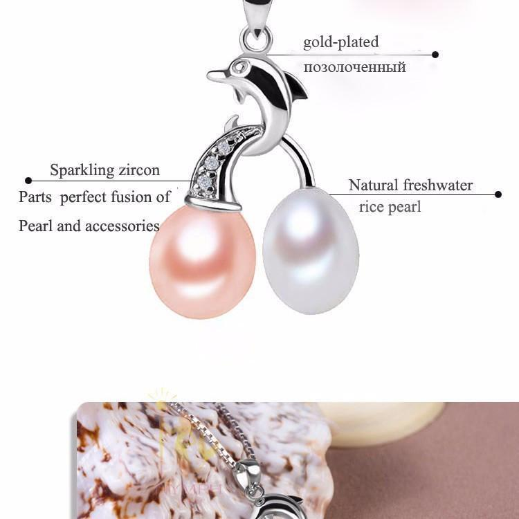NYMPH jewelry Exclusive styles 8-9 mm natural freshwater pearl necklace pendant pendant[Dolphin]-NECKLACES-SheSimplyShops