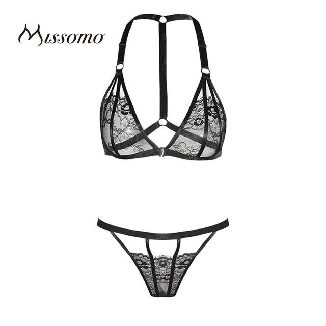 New Fashion Women Black Sexy Lace Underwear Panties Adjustable Straps Fitted Bra Sets-PANTS-SheSimplyShops