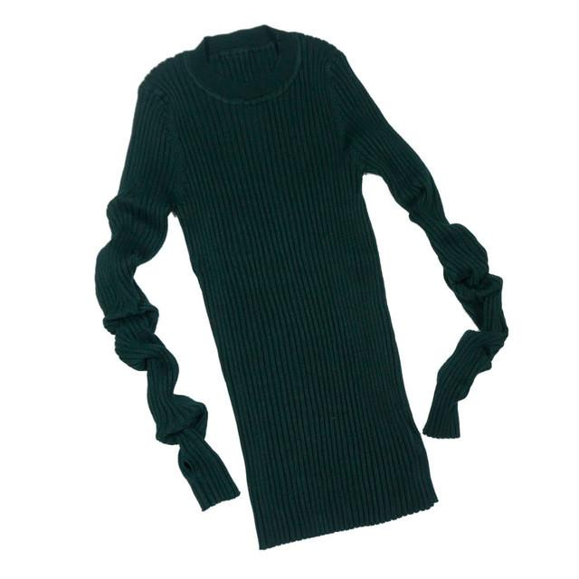 Women Sweater Essential Tops Solid Crew Neck Long Sleeve Knitted Ribbed Pullovers Basic Sweaters-SWEATERS + CARDIGANS-SheSimplyShops