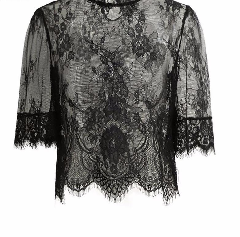 Summer Sexy Sheer Lace Women Blouses Vintage Hollow Out Crochet Women Tops Plus Size Button Shirt Women-Blouse-SheSimplyShops