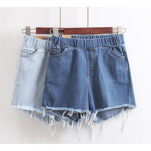 Loose Leg Frayed Denim Shorts-DENIM-SheSimplyShops