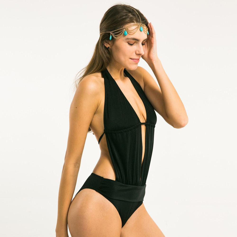 New Fashion Women Fitted Slim Summer Beach Bralette Black Sexy Deep V Neck Spaghetti Straps Hight Leg Bodysuits-ROMPERS & JUMPSUITS-SheSimplyShops