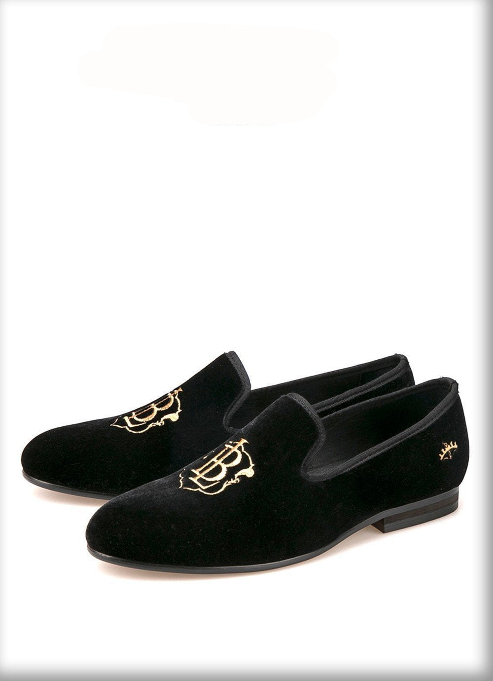 New style fashion men loafers gold embroidery handmade men velvet shoes party and wedding men's flat size-SLIPS-SheSimplyShops