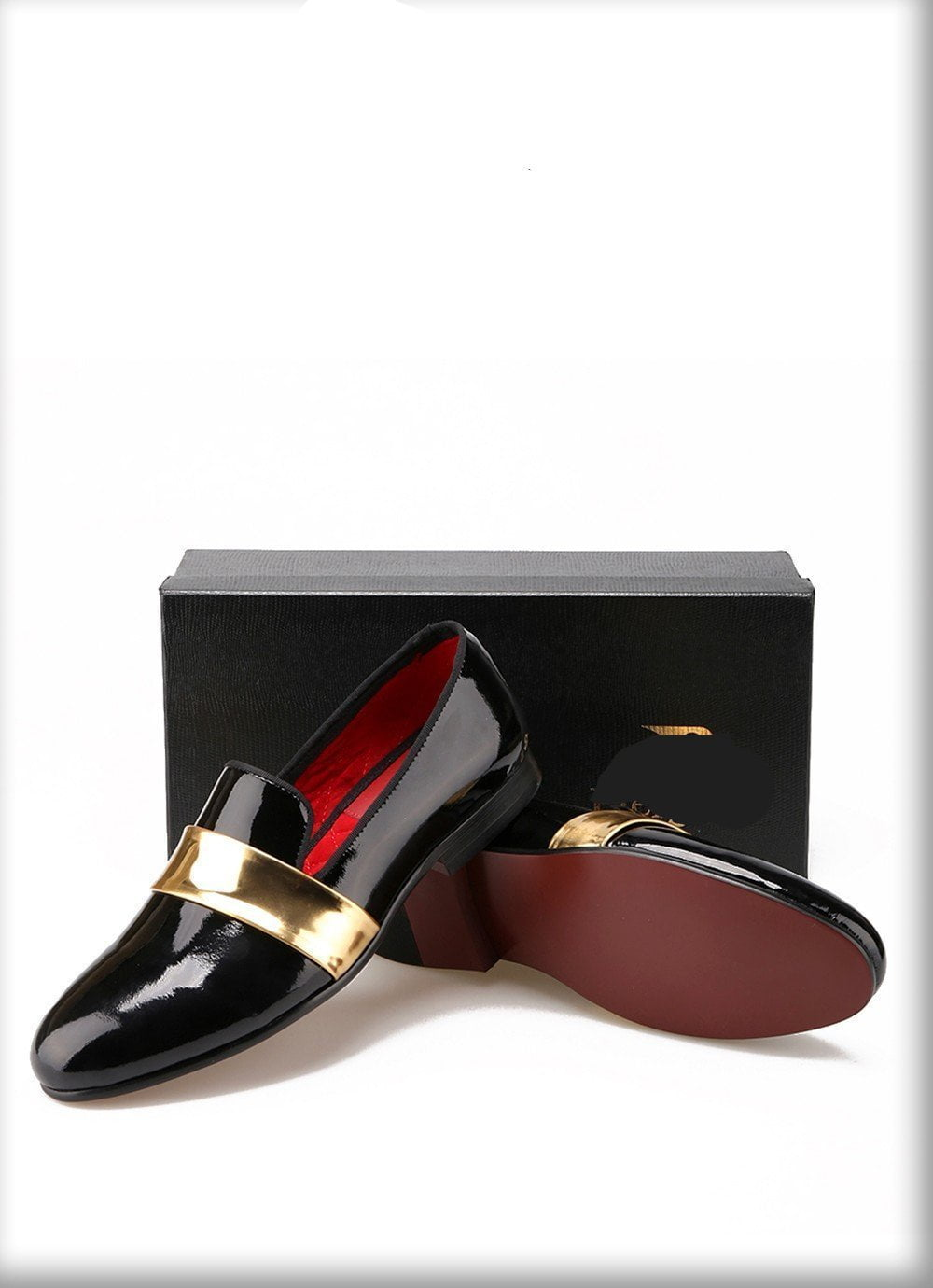 Hand made leather Loafers with gold patent shoes-SLIPS-SheSimplyShops