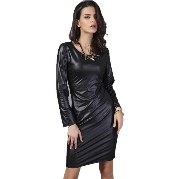 New Arrival Woman Fashion Thin Faux Leather Dress Long Sleeve Above Knee Mini Sexy Black Women Dresses-Dress-SheSimplyShops
