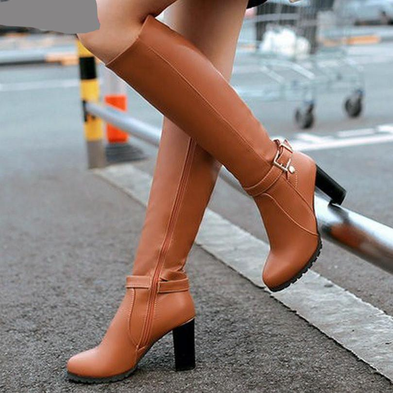VALLKIN Winter Autumn Women Boots Platforms Square Knee Heel Boots Motorcycle Lady Shoes Size 34-43-BOOTS-SheSimplyShops