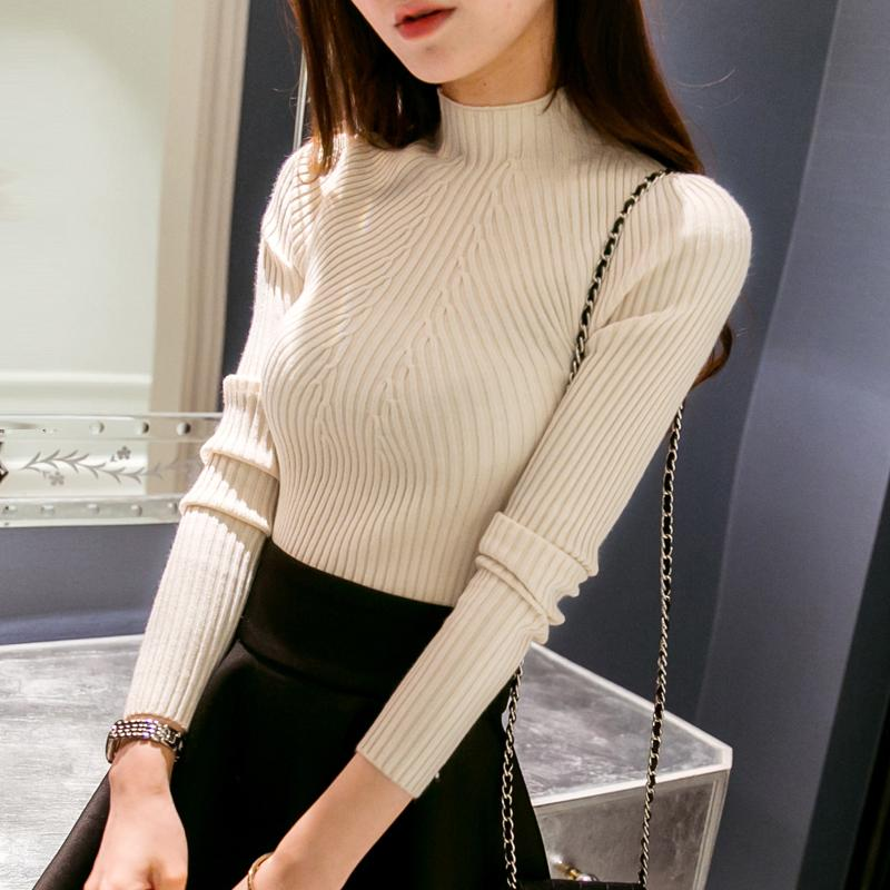 Spring Fashion Women sweater high elastic Solid Turtleneck sweater women slim sexy tight Bottoming Knitted Pullovers-Bottoms-SheSimplyShops