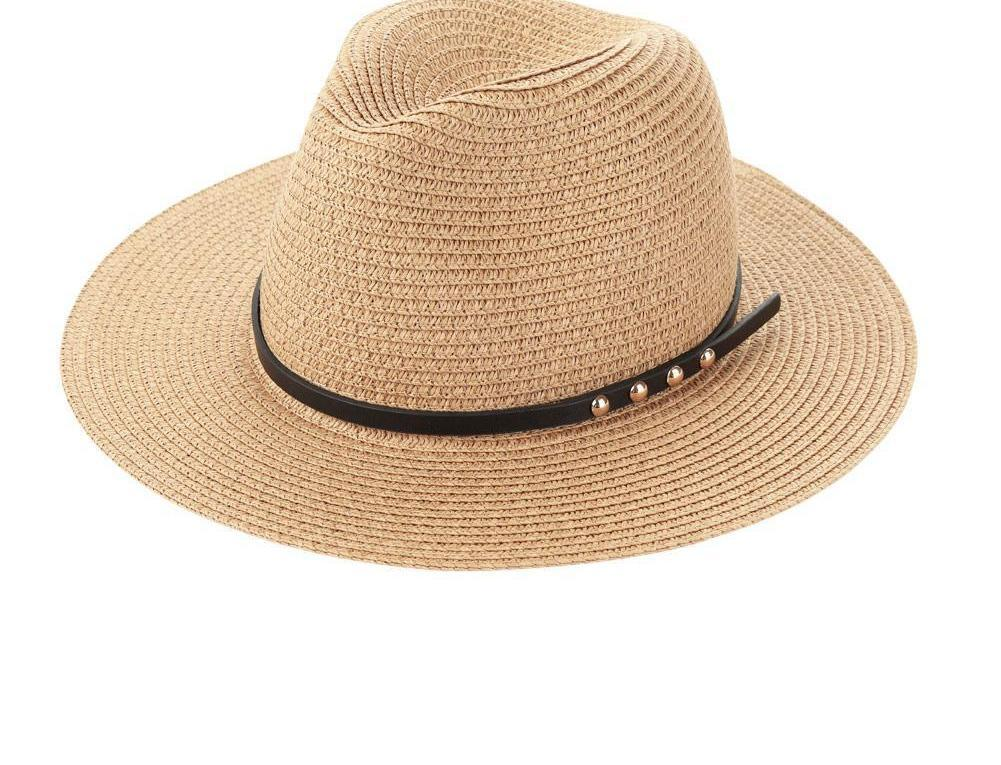 Fashion Summer Hats For Women Wide Brim Rivet Belt Sun Straw Hat Sunbonnet Beach Panama Hat Brown/Beige-HATS-SheSimplyShops