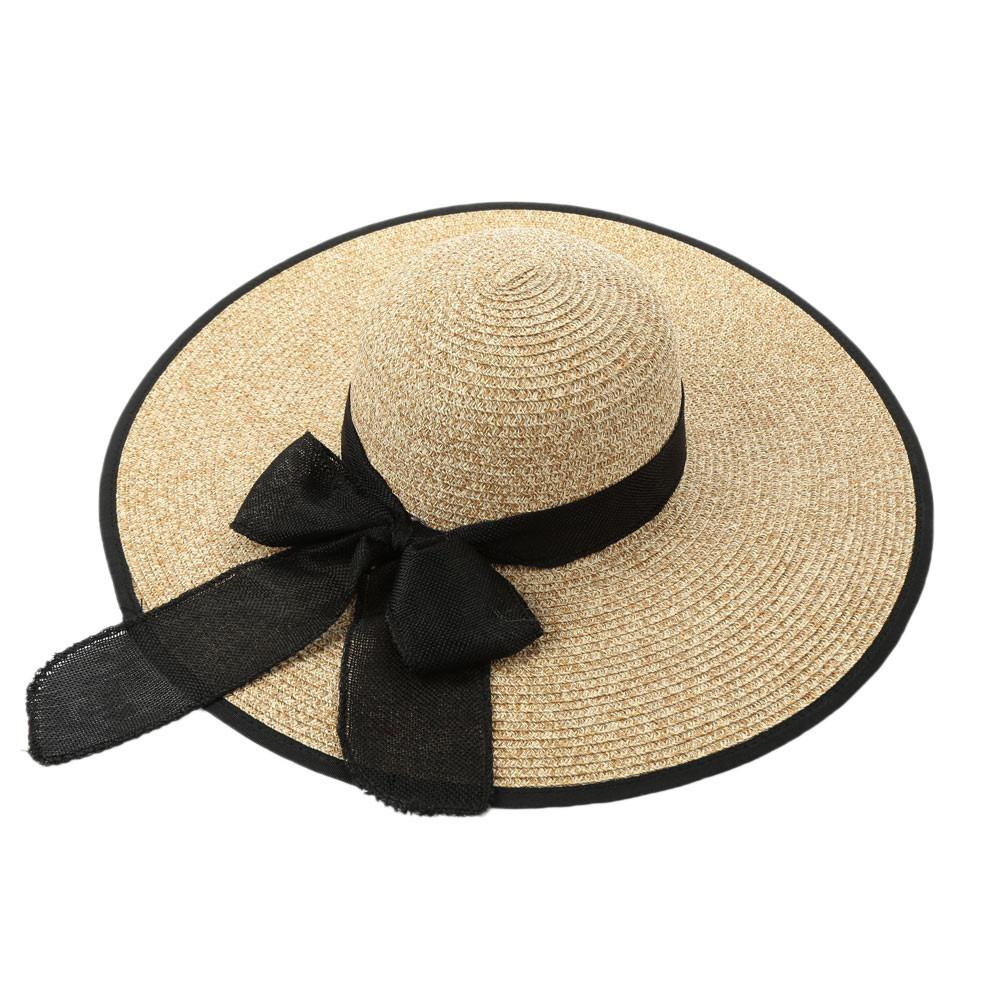 Elegant Bow Women Straw Sun Hat Solid Wide Brim Self-tie Summer Hats For Women Sunbonnet Beach Panama Hat Beach Caps-HATS-SheSimplyShops