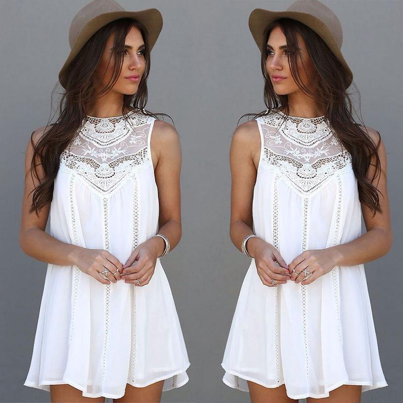 Stylish Sleeveless Mini Lace Dress-Dress-SheSimplyShops