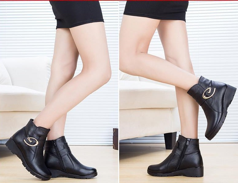 Winter Shoes Woman Genuine Leather Snow Boots New Fashion Casual Flat Ankle Boots Women Warm Shoes Women Boots-BOOTS-SheSimplyShops