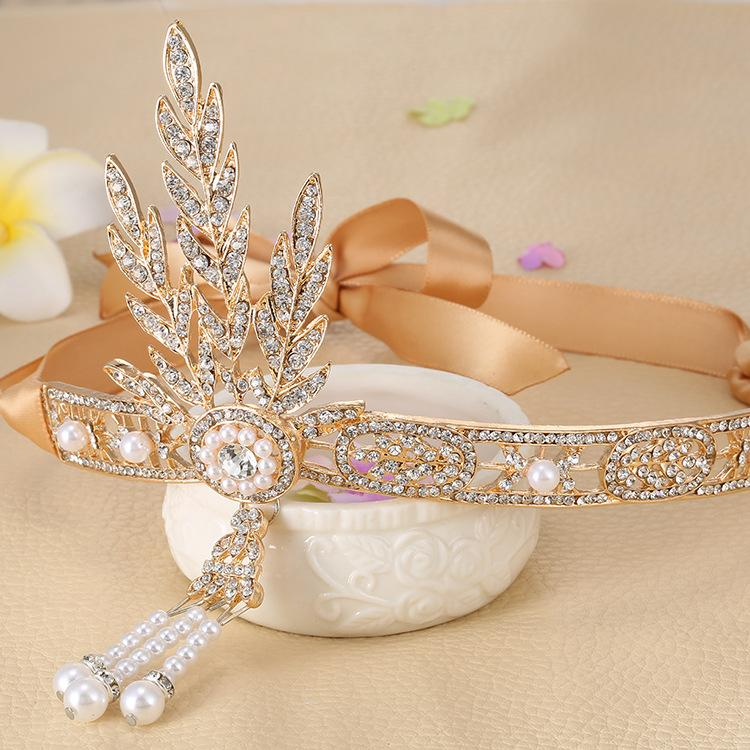 The Great Gatsby Bridal Hair Accessories Crystal Pearl Tassels Hair Headbands Hair Jewelry Wedding Brides Hairband Tiaras Crowns-JEWELRY-SheSimplyShops