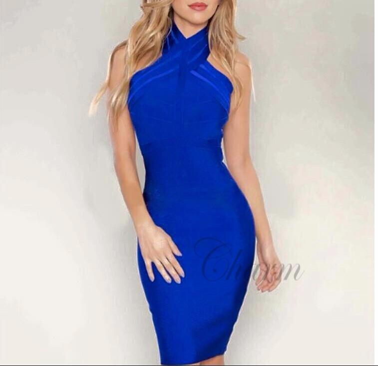 Halter neck evening party dresses-Dress-SheSimplyShops