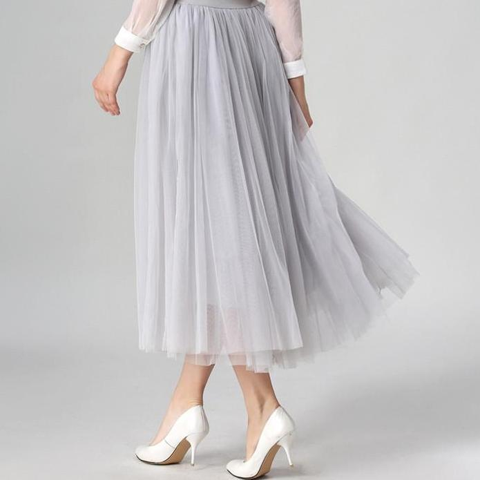 Pleated Maxi Tulle Skirts Womens Autumn Spring Summer Elegant Big Swing Long High Waist Adult Tutu Skirt for Women-Dress-SheSimplyShops