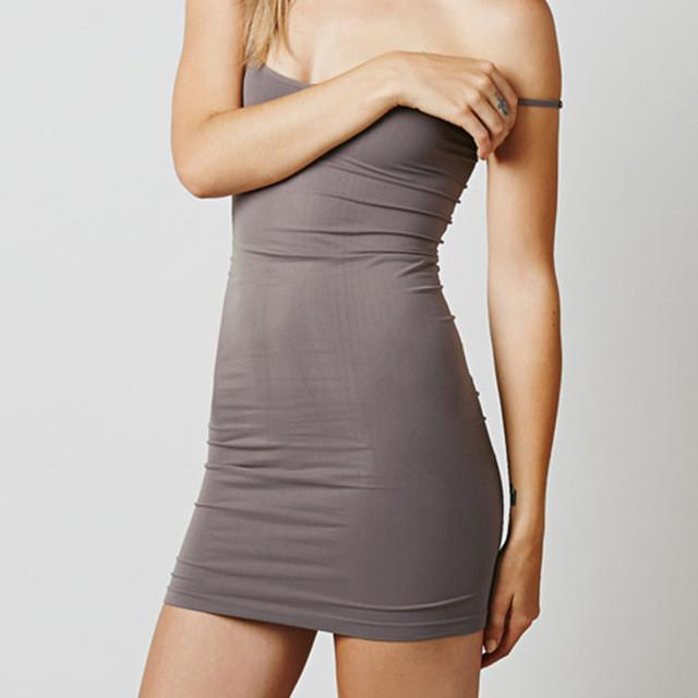 New women's mini dress brief O-neck strap short dress solid color sheath spandex slip dress summer sexy dress-Dress-SheSimplyShops