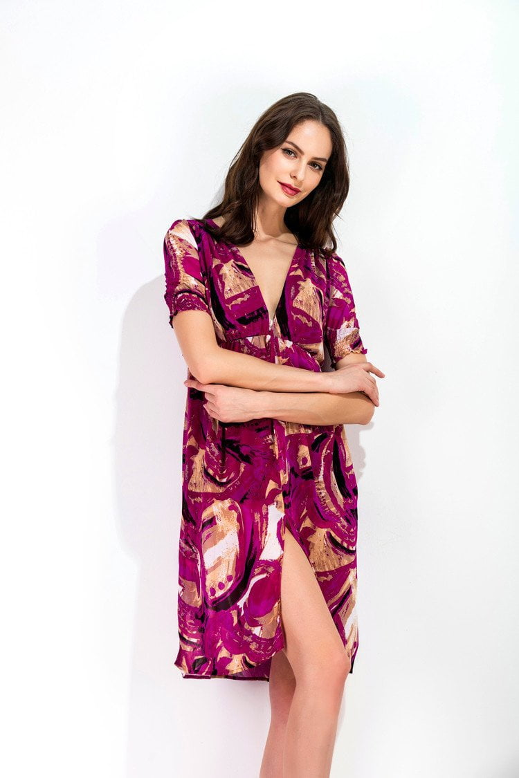 New Chiffon Summer Dress Women Sexy V-Neck Print Beach Dresses Casual Short Sleeve Split the fork Knee Length Dress-Dress-SheSimplyShops