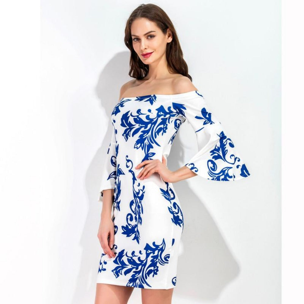 New Summer Slash neck Women Dress Sexy Blue and White Flare Sleeve Off Shoulder Sheath Bodycon Dress-Dress-SheSimplyShops