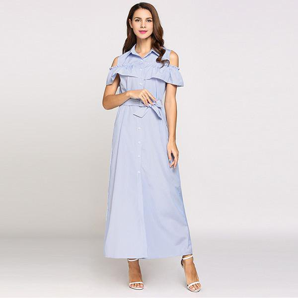 Sexy Women Summer Dress Off Shoulder Long Maxi Beach Dresses Ruffles Turn-down Stripes Party Belted Dress-Dress-SheSimplyShops
