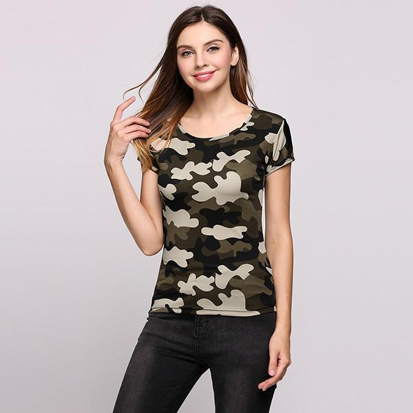 Summer T-shirt Women New Arrival Fashion Camouflage Short Sleeves Round Neck Pullover Casual Tops Cool-SHIRTS-SheSimplyShops