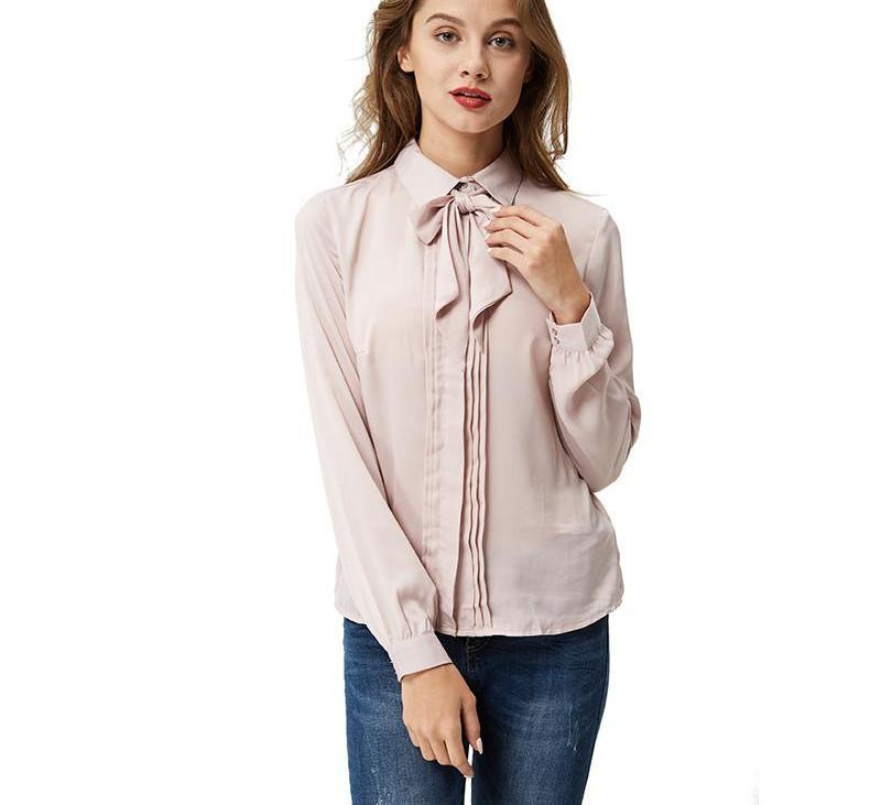 Plus size blouses Summer Fashion blouse Bow tie shirt Long Sleeve Office Shirts Women tops-Blouse-SheSimplyShops