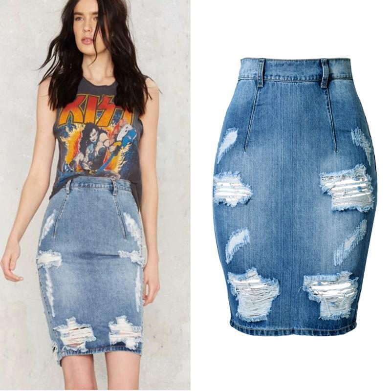 High Waist Ripped Denim Skirt-Dress-SheSimplyShops