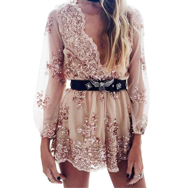 Gold sequin embroidery Transparent mesh sleeve romper-ROMPERS & JUMPSUITS-SheSimplyShops