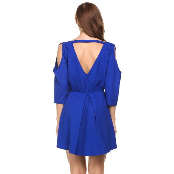 Deep V-Neck Cold Shoulder Backless Skater Dress-Dress-SheSimplyShops