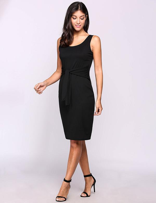 Summer Casual Dress Sexy Party Dresses Sleeveless Solid Black Belted Pencil Dress-Dress-SheSimplyShops