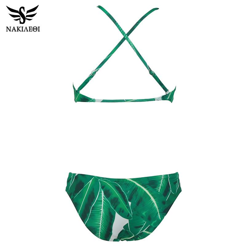 Sexy High Neck Bikini Swimwear Women Swimsuit Summer Bikini Set Green Leaf Beach Wear Bathing Suits Swim-SWIMWEAR-SheSimplyShops