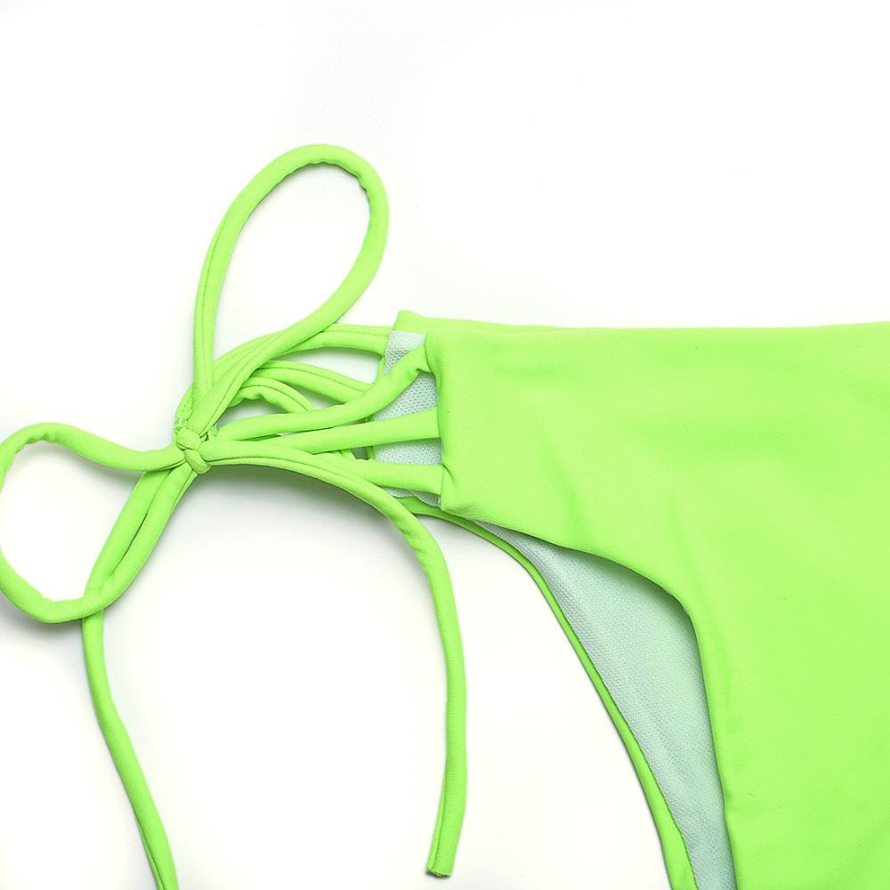 swimwear bikini summer push-up sexy swimwear women purple and green solid bikini-SWIMWEAR-SheSimplyShops