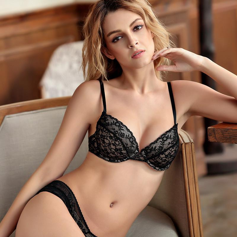 Summer new comfortable thin cotton cup underwear deep V sexy bra set-UNDERWEAR-SheSimplyShops