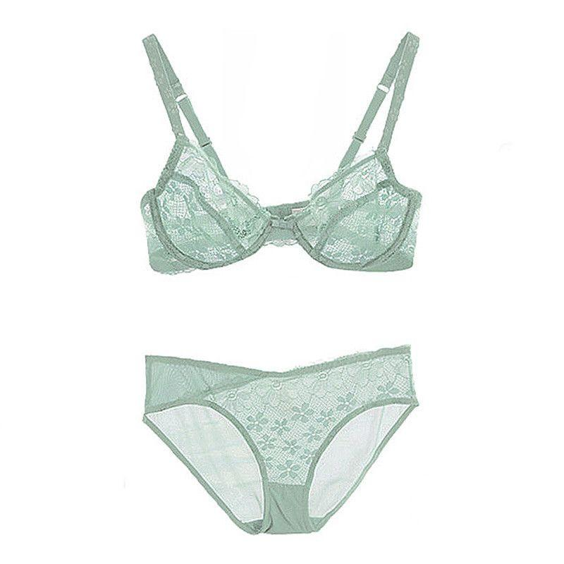 Deep V sexy lace bra set transparent new breathable bra for women-SheSimplyShops