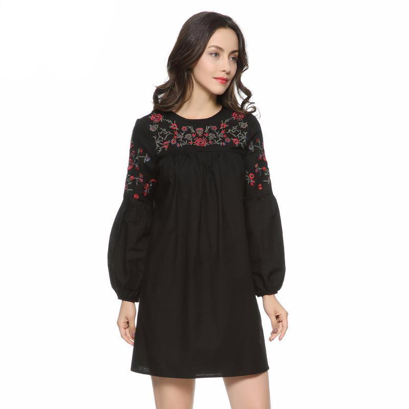 Floral Embroidered Loose Pleated Dress-Dress-SheSimplyShops