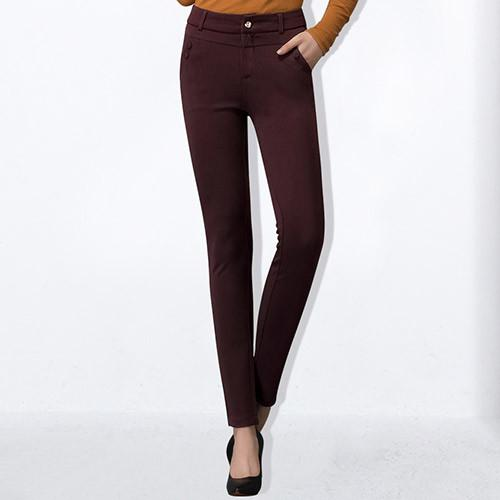 Women Pants High Waist Pantaloon Work Wear Pants With Elastic Office Long Pants For Women Clothing-PANTS-SheSimplyShops