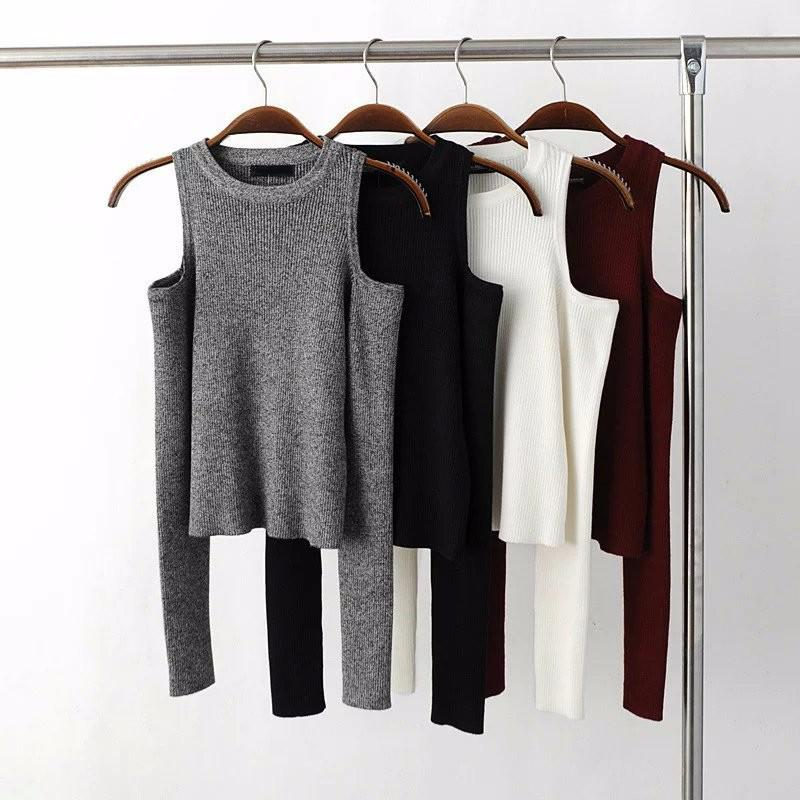 Autumn Women Knitted Long Sleeve Black Off Shoulder Thin Sweater Tops White Sexy Gray Bodycon Winter O Neck Pullovers-SWEATERS + CARDIGANS-SheSimplyShops