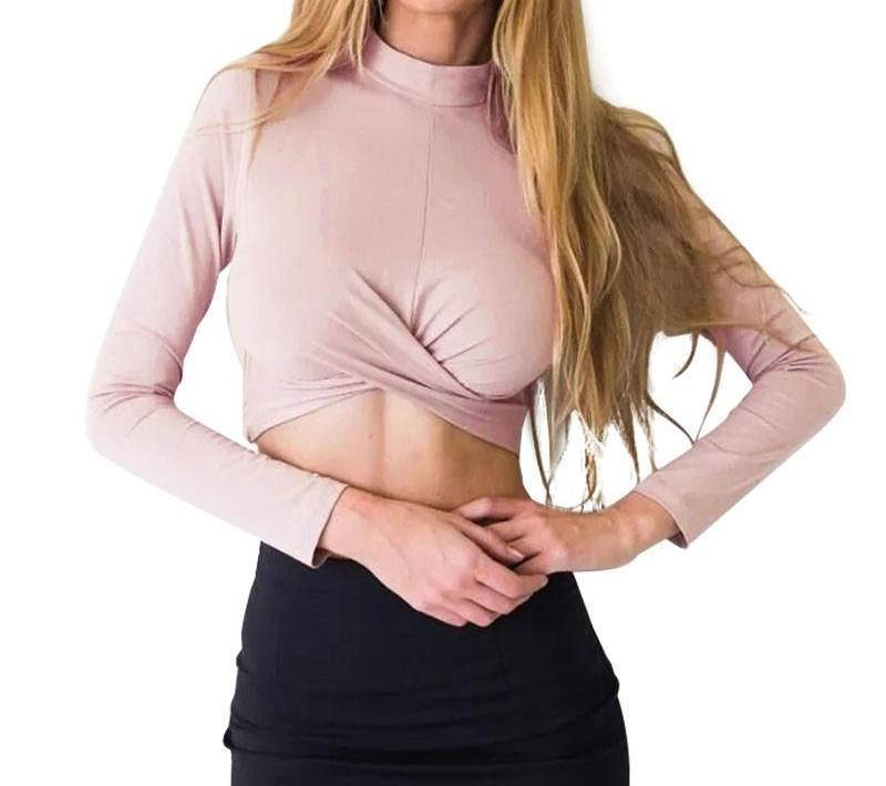 Mock High Neck Front Cross Long Sleeve Womens Cotton T-shirt Spring Summer Crop Top Pullover New Tops-SHIRTS-SheSimplyShops