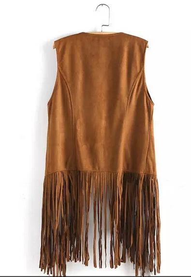 New fringed tassels faux suede sleeveless asymmetrical vest jacket-Coats & Jackets-SheSimplyShops