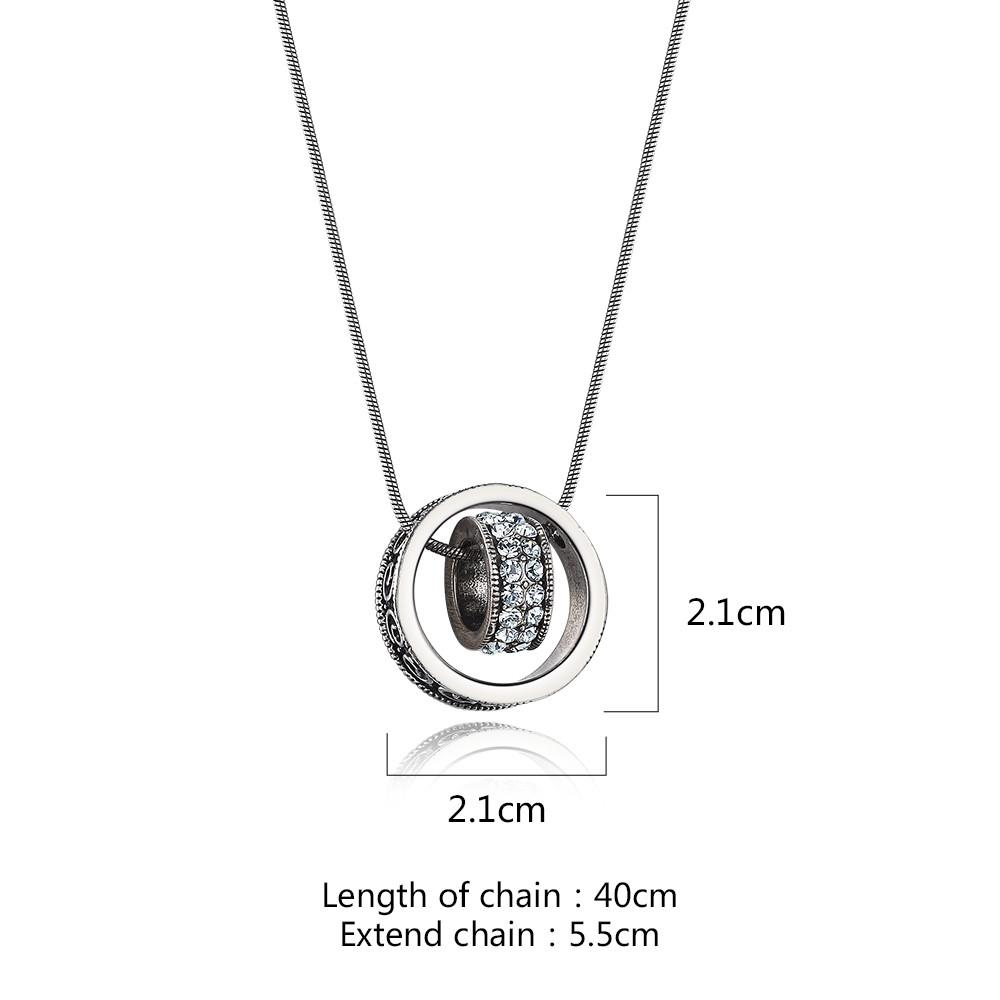 Antique Silver Color Double Circle Pendant Necklaces Rhinestones Paved Chain Necklace-NECKLACES-SheSimplyShops