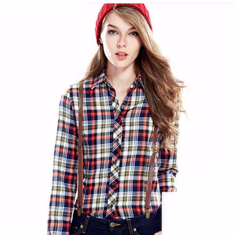 New arrival 100% Cotton Plaid Blouses Shirts Women Outwear Long sleeve Flannel Tartan Shirts Autumn-Blouse-SheSimplyShops