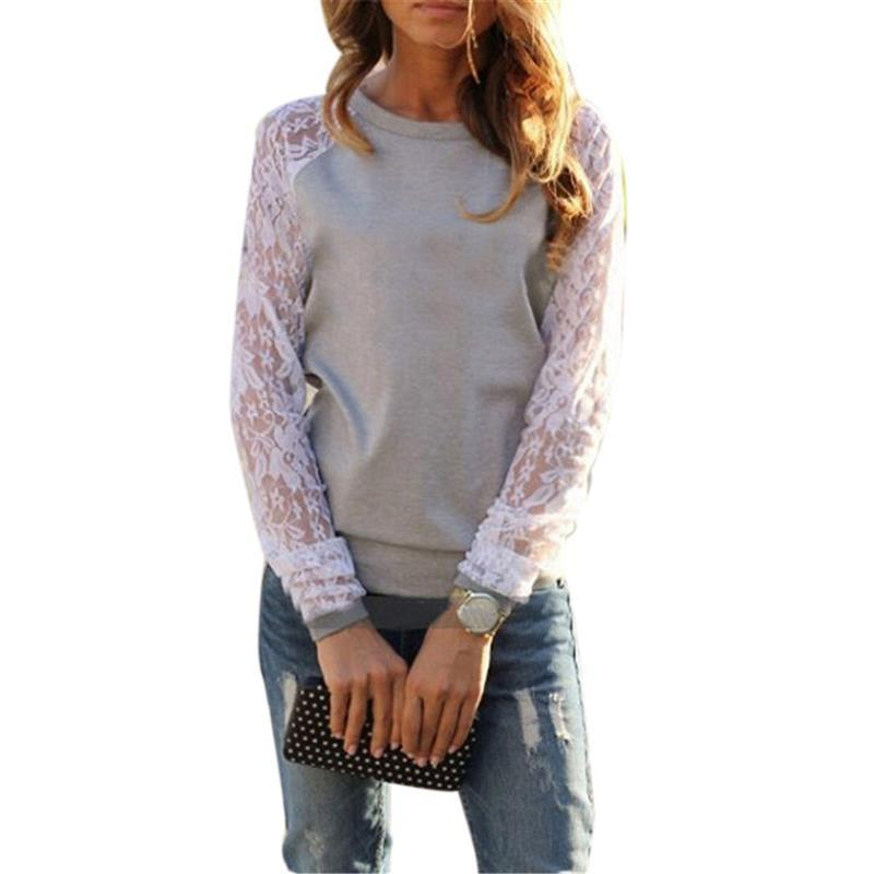 Women Shirt Blouse Lace Floral Crochet Patchwork Long Sleeve Loose Tee Shirt Top Pullover Casual Blusas Femininas S-XXXL-Blouse-SheSimplyShops