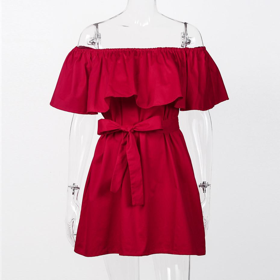 Ruffle Off Shoulder Dress Casual Women Summer Dresses With Bow Belt New Fashion Loose Women Dress Red Green Black Purple-Dress-SheSimplyShops