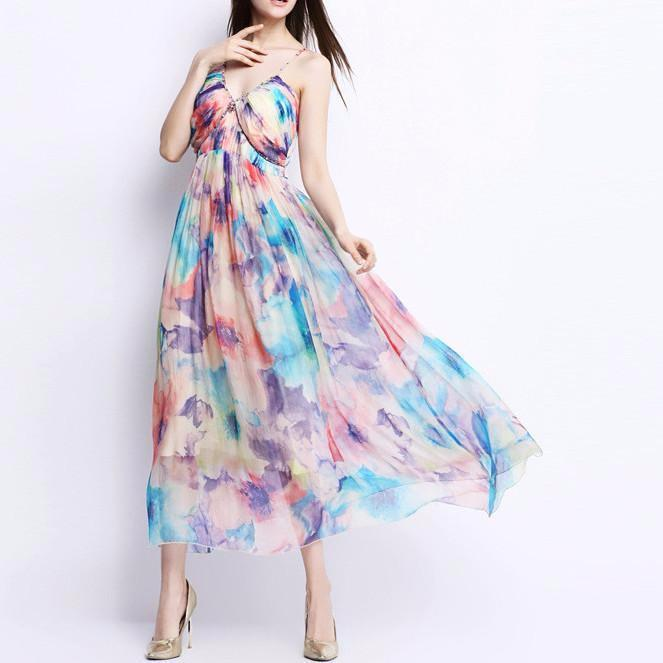 New Women Summer Sundress Elegant Flower Print Strapless Beach Silk Dress-Dress-SheSimplyShops