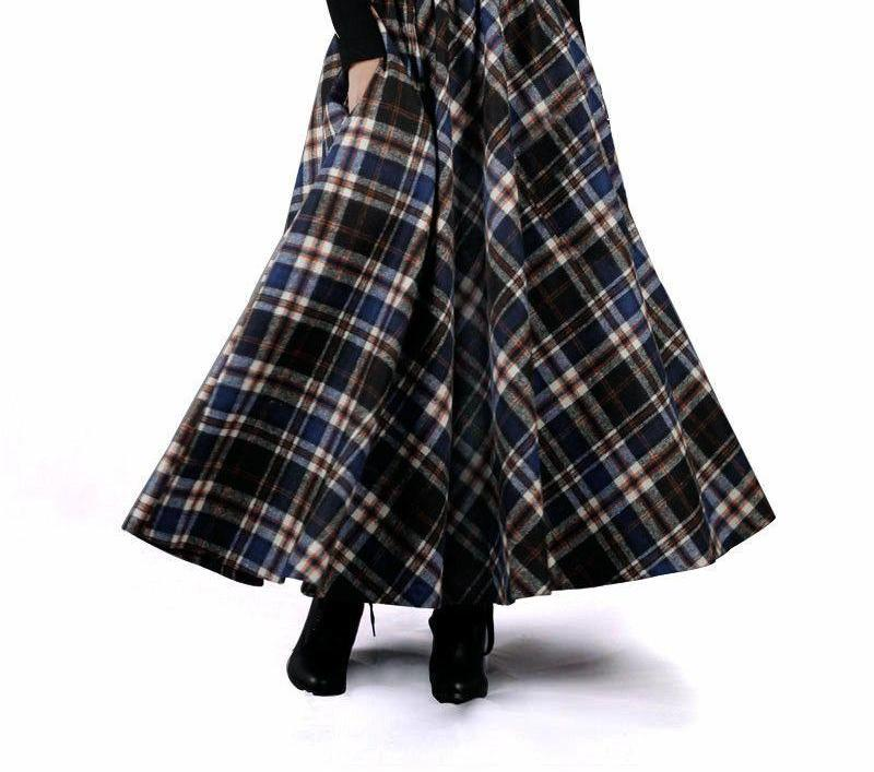 Autumn Winter Women Skirt 50s Vintage and Retro Wool Maxi Elastic Waist Plaid Classical Thick Warm Saias Longa-Dress-SheSimplyShops