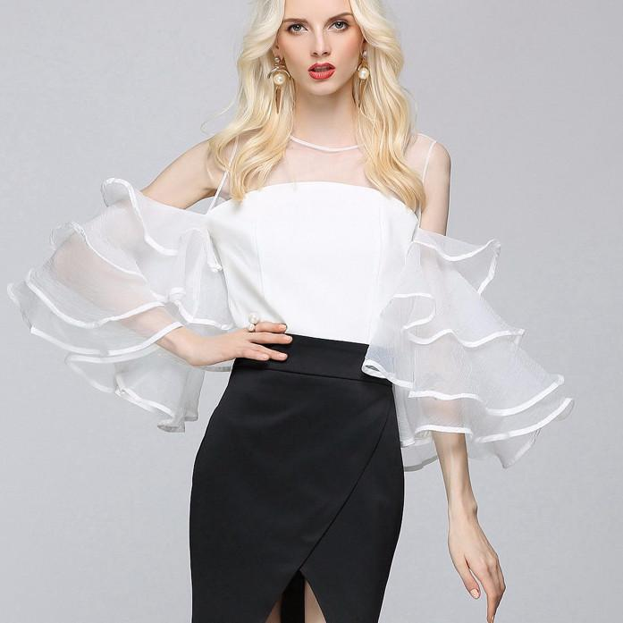 Summer New Round Neck Ruffle Sexy Transparent Shirt Ladies-SHIRTS-SheSimplyShops